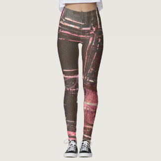 Bronze and Pink Abstract Leggings