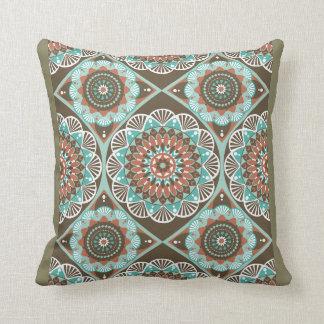 Bronze and teal kaleidoscope print on throw pillow
