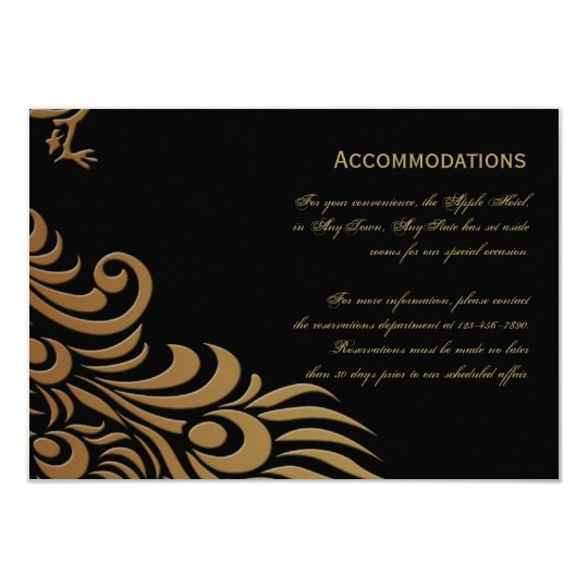 Bronze Art Deco Peacock and Floral Accomodations Card