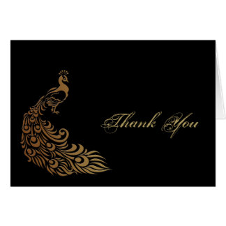 Bronze Art Deco Peacock and Floral Thank You Note Card