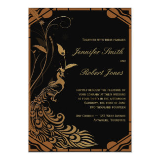 Bronze Art Deco Peacock Floral Wedding Invitation