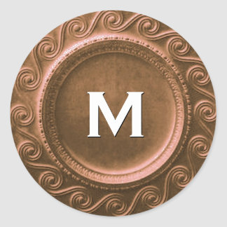 Bronze Art Deco Wedding Monogram M Sticker