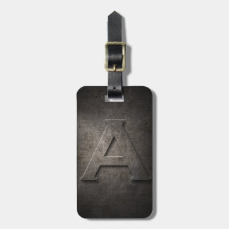 Bronze Black Metal A Monogram Luggage Tag