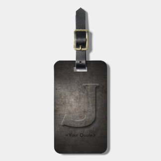 Bronze Black Metal J Monogram Luggage Tag