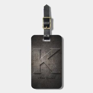 Bronze Black Metal K Monogram Travel Luggage Tag