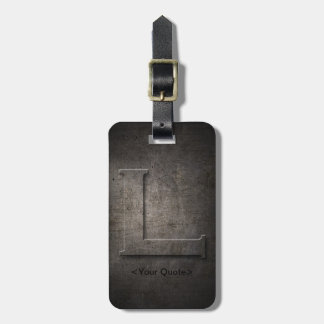 Bronze Black Metal L Monogram Travel Luggage Tag