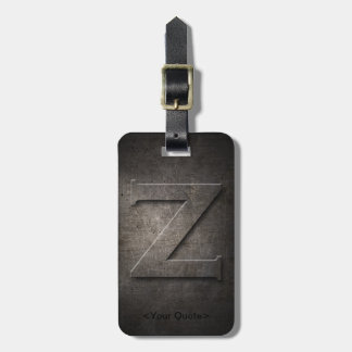 Bronze Black Metal Z Monogram Travel Luggage Tag
