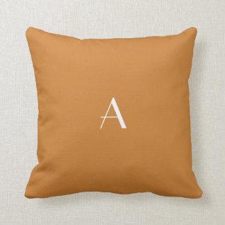 Bronze Brown Pillow w White Monogram