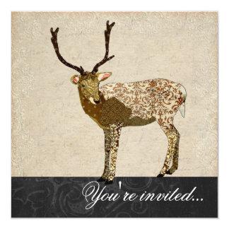 """Bronze Buck Black & White Invitation 5.25"""" Square Invitation Card"""