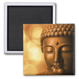 Bronze Buddha Statue with Golden Bokeh Background Square Magnet
