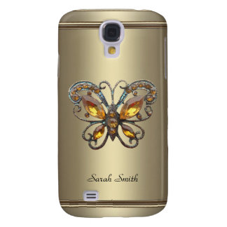 Bronze Chrome Pern Butterfly jewel Galaxy S4 Case