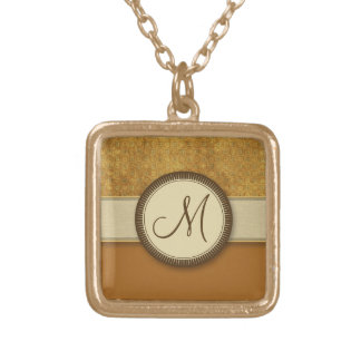 Bronze Coin Pattern with Monogram Pendant