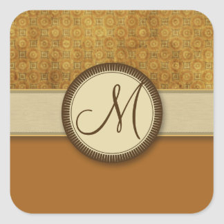 Bronze Coin Pattern with Monogram Square Sticker