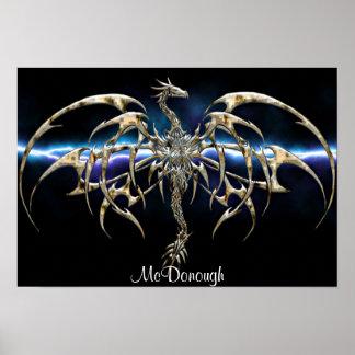 Bronze Dragon on Lightning Sky Poster