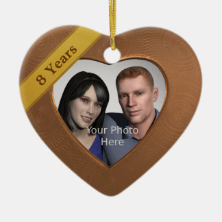 Bronze Effect 8th Anniversary: Add a Photo Christmas Ornament