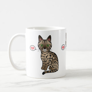 Bronze Egyptian Mau Cat Cute Cartoon Drawing Coffee Mug