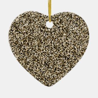 Bronze Faux Glitter Ceramic Heart Decoration