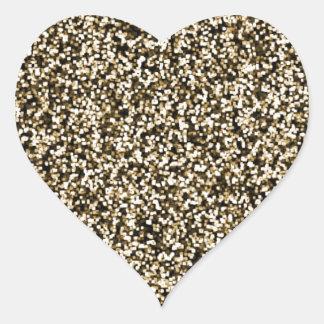 Bronze Faux Glitter Heart Sticker