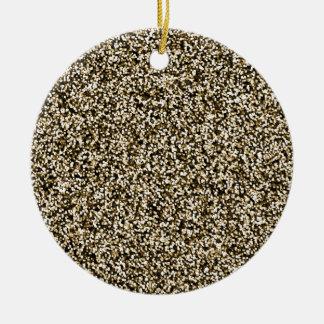 Bronze Faux Glitter Round Ceramic Decoration