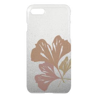 Bronze Ginkgo Leaves on Silver Effect Pattern iPhone 7 Case