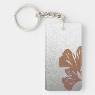 Bronze Ginkgo Leaves on Silver Effect Pattern Key Ring