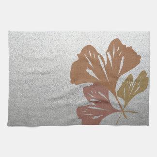 Bronze Ginkgo Leaves on Silver Effect Pattern Tea Towel