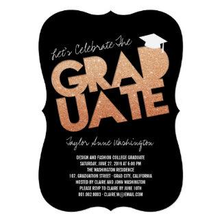 Bronze Glitter Graduate Cutout Graduation Party Personalized Announcement