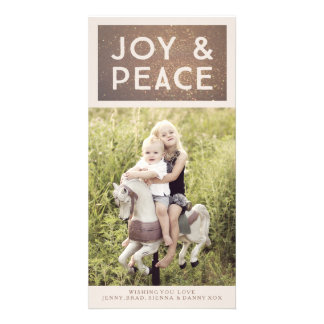 Bronze Glitter Joy & Peace Xmas Photo Card