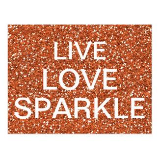 Bronze glitter Live Love Sparkle Postcard