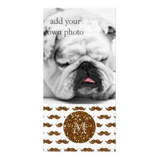 Bronze Glitter Mustache Pattern Your Monogram Photo Cards