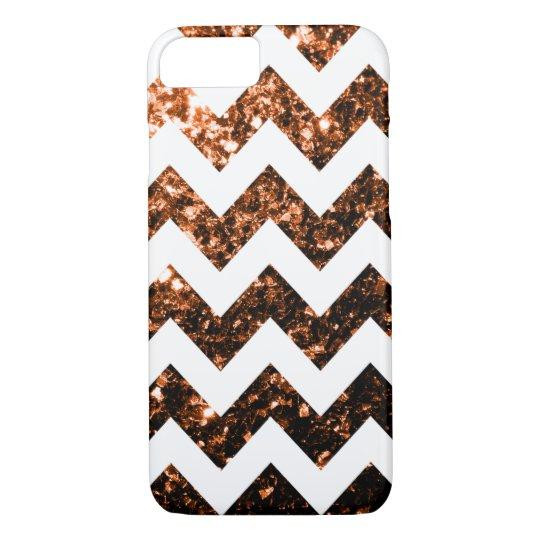 Bronze glitter sparkles and White Chevron iPhone 7