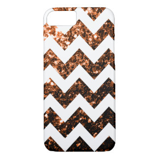 Bronze glitter sparkles and White Chevron iPhone 7 iPhone 8/7 Case