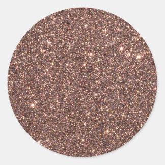 Bronze Glitter Sparkles Round Sticker