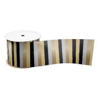 Bronze, Gold, Black and Silver Stripes Satin Ribbon