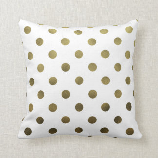 Bronze Gold Leaf Metallic Faux Foil Polka Dot Cushion