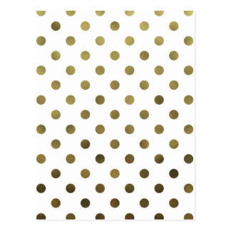 Bronze Gold Leaf Metallic Faux Foil Polka Dot Postcard