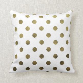 Bronze Gold Leaf Metallic Faux Foil Polka Dot Throw Pillow