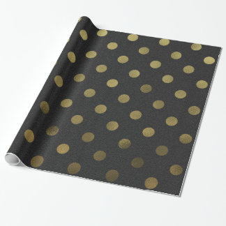 Bronze Gold Leaf Metallic Faux Foil Polka Dot Wrapping Paper