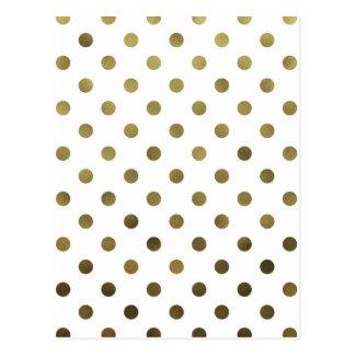Bronze Gold Leaf Metallic Foil Small Polka Dot Postcard