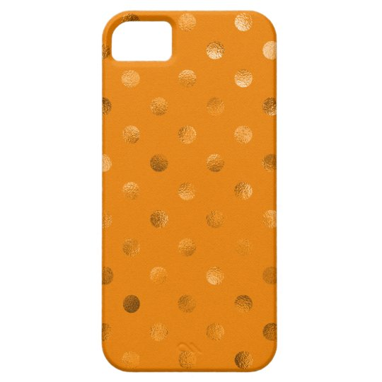 Bronze Gold Metallic Faux Foil Polka Dot Orange