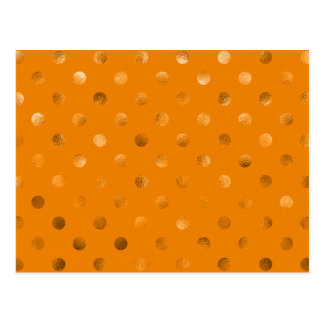 Bronze Gold Metallic Foil Polka Dot Orange Brown Postcard