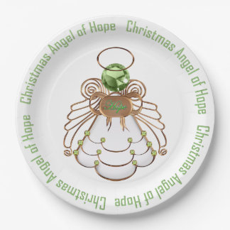 Bronze Green - Filigree Christmas Angel of Hope Paper Plate