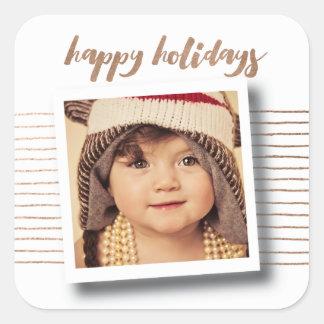 Bronze Happy Holidays Christmas Photo Sticker