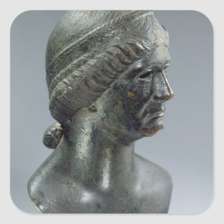 Bronze head of a woman, sometimes identified as Ma Square Sticker