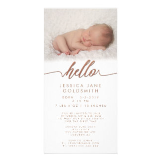 Bronze Hello Birth Announcement Sip & See Card