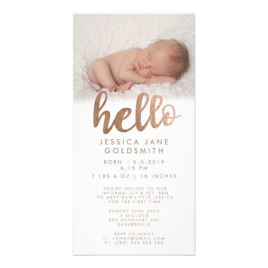 Bronze Hello Birth Announcement Sip & See Custom