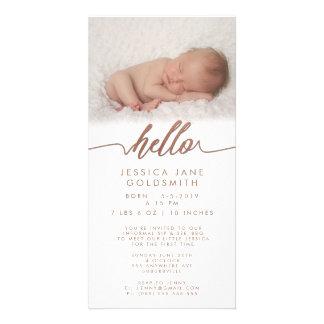 Bronze Hello Birth Announcement Sip & See Photo Cards