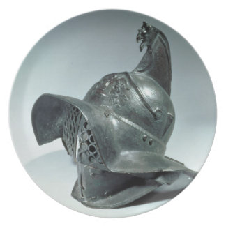 Bronze helmet of Thracian gladiator, Roman, 1st ce Dinner Plate