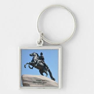 Bronze Horseman Silver-Colored Square Key Ring