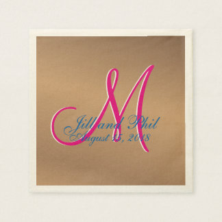 Bronze Light 3d Monogram Paper Napkins